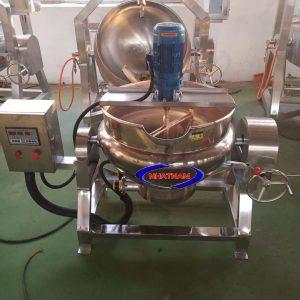 Máy được thiết kế hoàn toàn bằng inox cao cấp, cơ chế hoạt động đơn giản gồm 1 motor xoay điều chỉnh tốc độ, 1 nồi chứa nguyên liệu được tích hợp thiết bị làm nóng.  -Nhiệm vụ chính của máy là tạo nên những hỗn hợp kẹo đặc, khuấy đều trước khi chế biến ra thành phẩm.