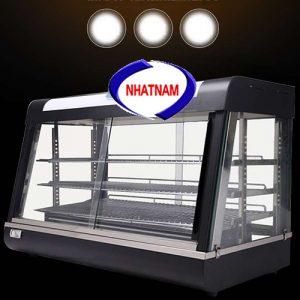 Tủ trưng bày và giữ nóng bánh 3 tầng (NNTQ-A03)được thiết kế tinh tế, sang trọng khung tủ làm bằng inox không rỉ, mặt kính trong suốt dễ dàng quan sát được các loại bánh bên trong