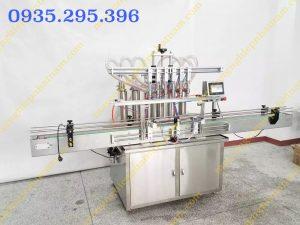Máy chiết rót dung dịch lỏng 6 vòi tự động (NNDC-D18)  Dây chuyền được sử dụng để chiết rót dung dịch dạng lỏng, chiết rót kem, chiết rót mỹ phẩm, dầu ăn…