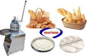 Máy chia bột bằng tay (NNCB-B04)Theo thời gian thì các công đoạn làm bánh mì đều có máy móc hỗ trợ.  Để nâng cao tính chuyên nghiệp,rút ngắn thời gian sản xuất, tăng năng suất và độ đồng đều của bánh mì sau khi nướng thì khâu chia bột rất quan trọng.  Máy chia bột bằng tay là một lựa chọn khác bên cạnh dòng sản phẩm máy chia bột bằng điện.  Sản phẩm có thiết kế hoàn toàn giống máy tự động chỉ khác là người dùng sẽ sử dụng lực gạt tay cần để chia bánh.