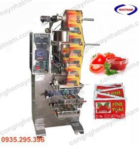 -Máy chuyên dùng để đóng gói sa tế, nước sốt, dung dịch sệt và lỏng có lẫn tạp chất.... dùng trong ngành chế biến thực phẩm, mỹ phẩm,ngành dược...