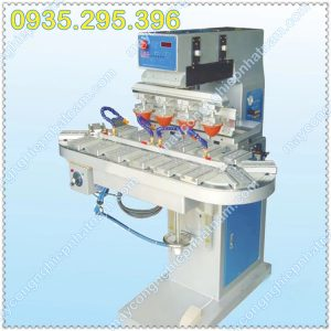 Máy in tampon 4 màu băng tải (NNID-23)hoạt động bằng hệ thống khí nén, sản phẩm in đạt độ nét cực cao, vận hành đơn giản.